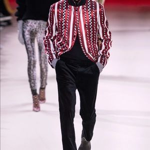 Haider Ackermann runway striped coat red silk 36fr